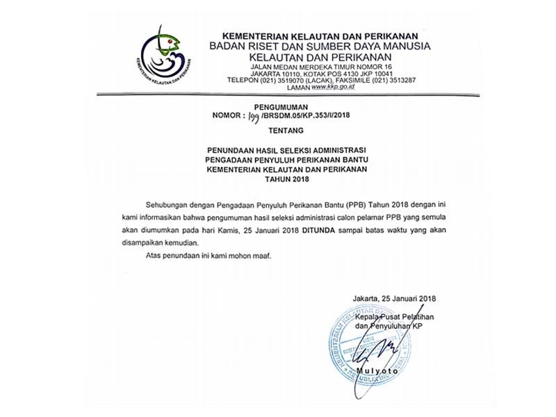 PENUNDAAN HASIL SELEKSI ADMINISTRASI PENGADAAN PPB KKP TAHUN 2018